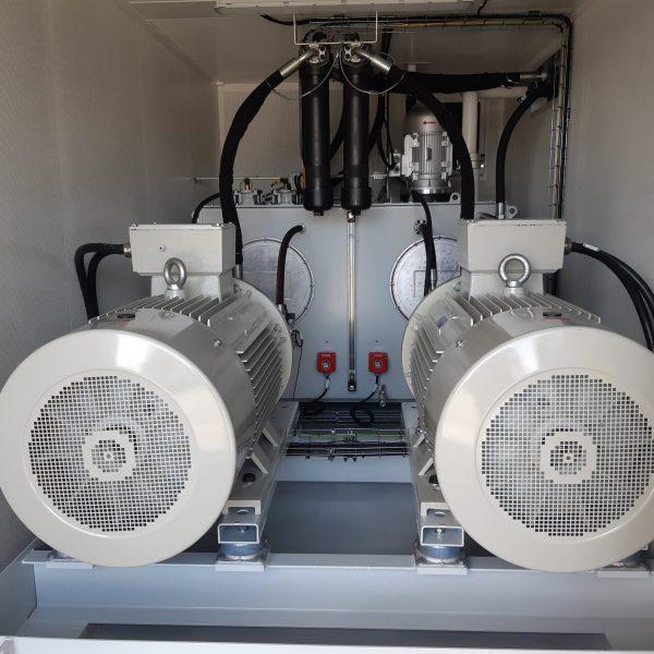 conception d'une station de rinçage de circuits hydrauliques dans un container par le bureau d'études d'hydrofluid technologie de caudan dans le morbihan